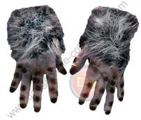 Grey Hairy Adult Soft Skin Rubber Monster Hands by Rubie's