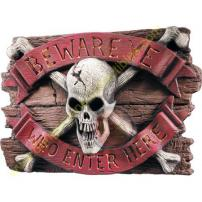 "Skull ""Beware Ye Who Enter Here"" Door Sign by Rubie's."