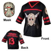 Friday The 13th Jason Voorhees Hockey Jersey & Mask Adult Size.