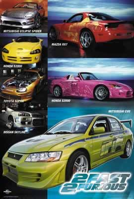 2 Fast 2 Furious Cars Movie Poster